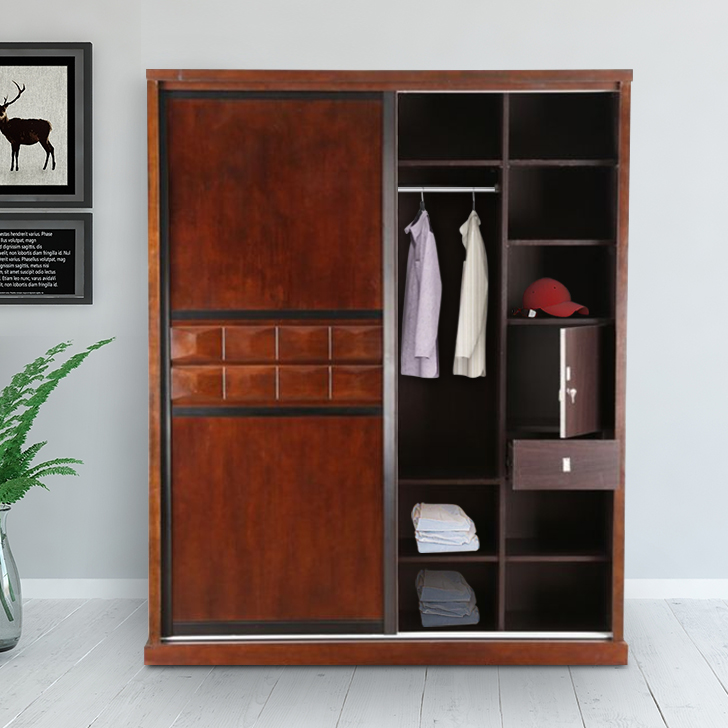 Amelia Solid Wood Sliding Wardrobe in Brown Colour by HomeTown