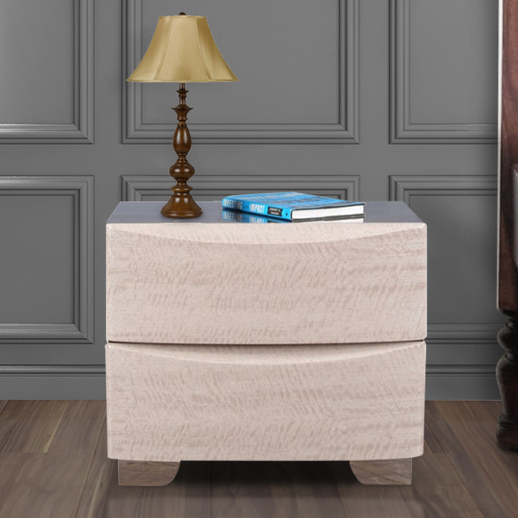 Athena Engineered Wood Bedside Table in Light Marble Colour by HomeTown