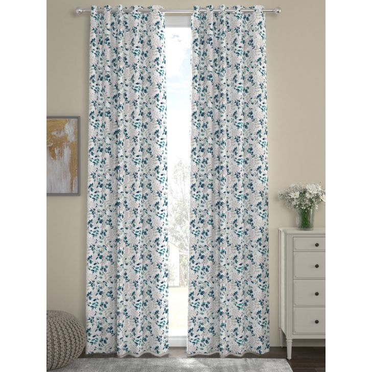 Digi Print Door Curtain In Blue Color By Rosara Home