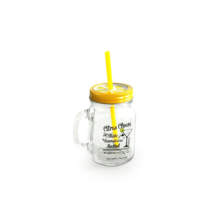 Citrous Clown Glass Mason Jars in Yellow And Clear Colour by Living Essence