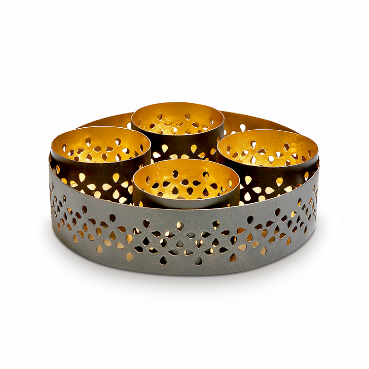 Malhar Decorative Ella Tea Light Iron Candle Holders in Black And Gold Colour by Malhar