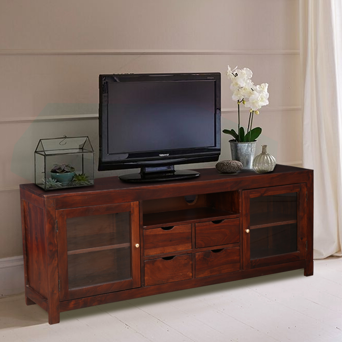 Hope Sheesham Wood(Rosewood) TV Unit in Brown Colour by HomeTown