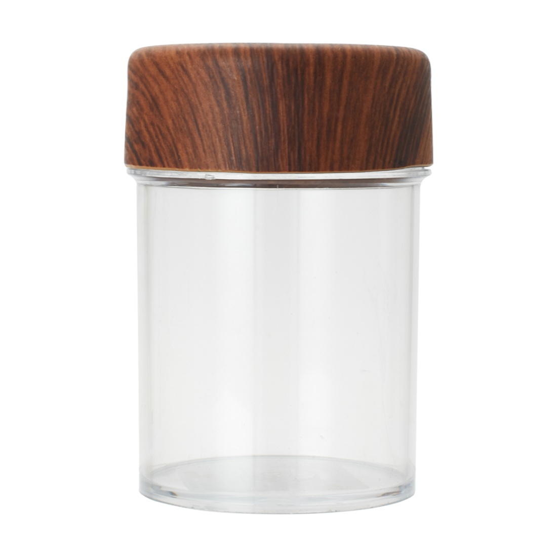 Oak Round Jar 200 Ml Plastic Containers in Wooden Finish Colour by Living Essence