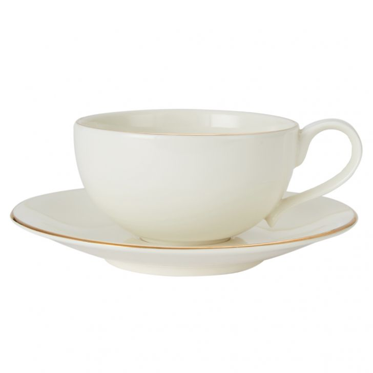 Sense Tea Cup & Saucer Ceramic Cups & Saucers in White Colour by Living Essence