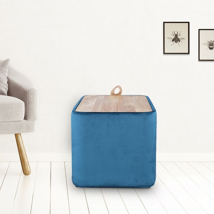 Classic Engineered Wood Ottoman in Teal Colour by HomeTown