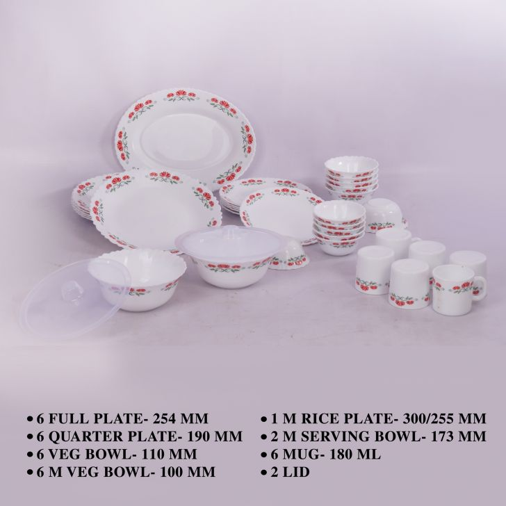 LA Opala Silk Collection 35 Pcs  - Blooming Lotus Opalware Dinner Set in Multi Colour