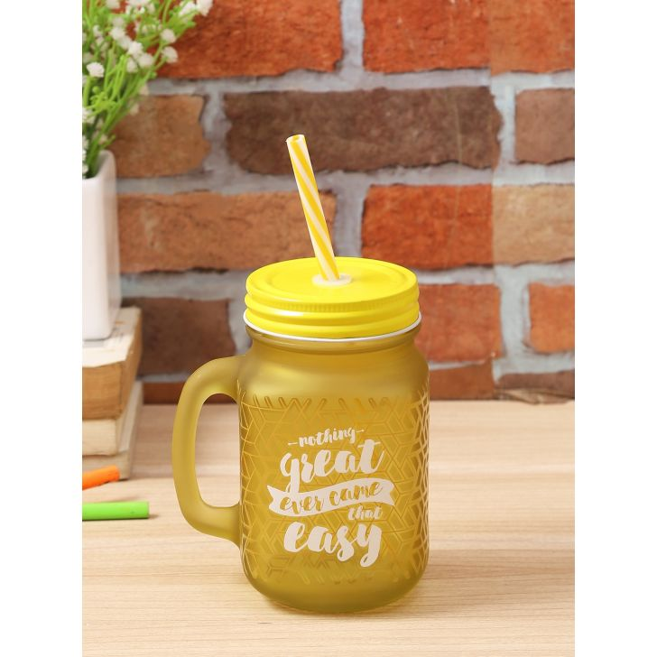 Living Essence Glass Modern Quote Mason Jar in Yellow Colour by Living Essence