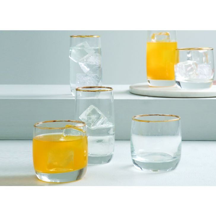 SK RADIANCE GOLD WATER TUMBLERS SET OF 6 Glass Glasses & Tumblers in Transparent & Gold Colour by Living Essence