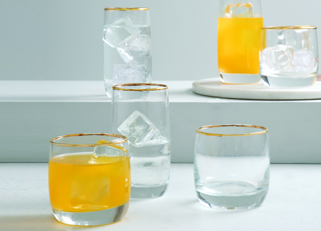 SK RADIANCE GOLD WATER TUMBLERS SET OF 6 Glass Glasses & Tumblers in Transparent & Gold Colour by Sanjeev Kapoor