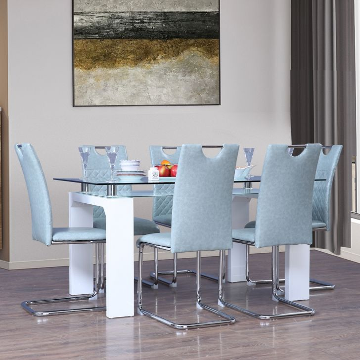 Garfield Engineered Wood Six Seater Dining Set in White Colour by HomeTown