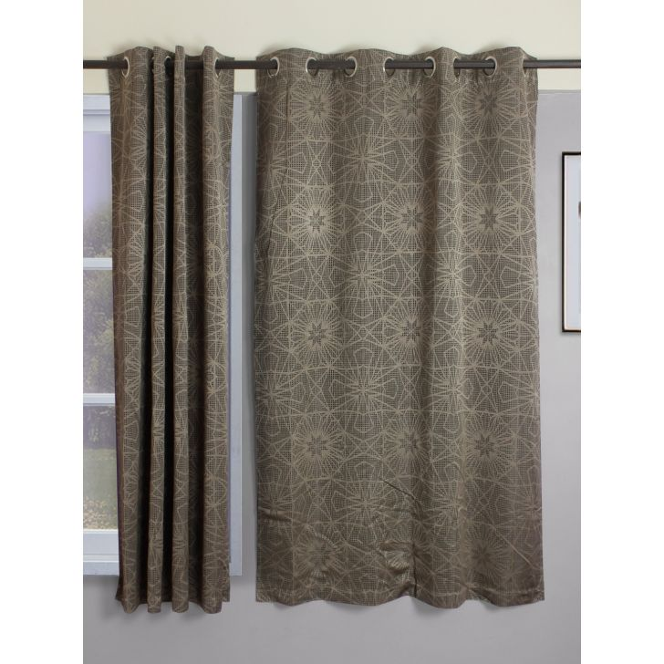 Set of 2 Emilia Jacquard Blackout Polyester Window Curtains in Charcoal Colour by Living Essence