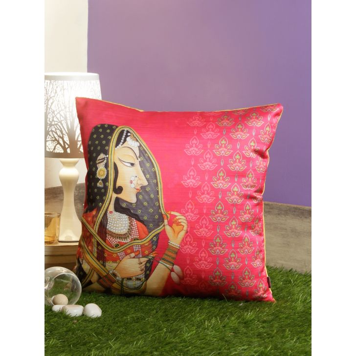 Digi Rani Motif Pvc Cushion Covers in Pink Colour by Living Essence