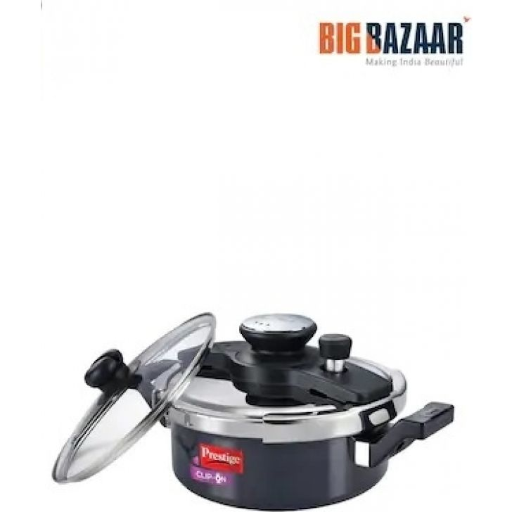 Clip On Hard Anodised 5L with Glass Lid Aluminium Pressure Cooker in Black Colour by Prestige