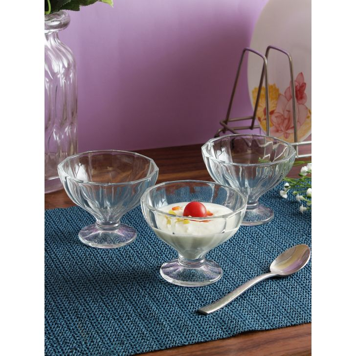 Istanbul Glass Ice Cream Bowl Set of 6 in Transparent Colour by Living Essence