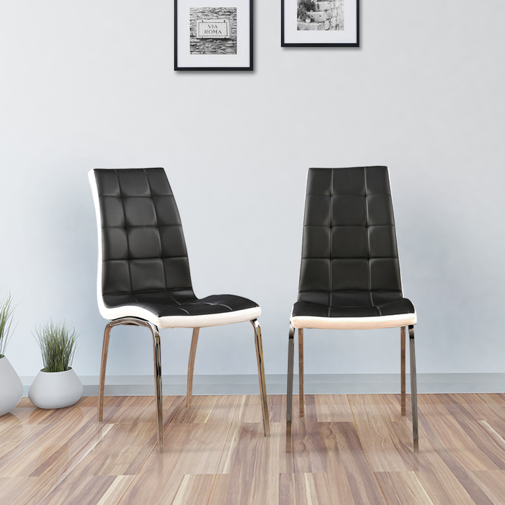 Costa Metal Dining Chair Set of Two in White & Black Colour by HomeTown