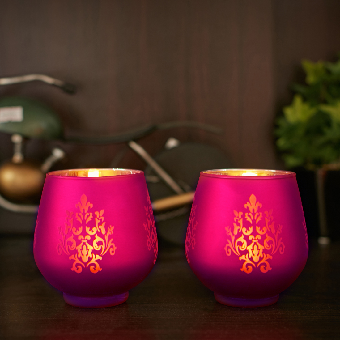 Zahara Set Of 2 Flower Etched Glass Candle Holders in PINK Colour by Living Essence