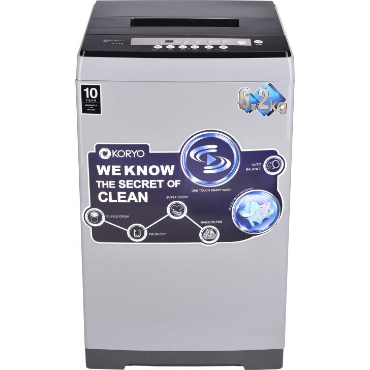 Koryo 6.2KG TOP LOADING Fully Automatic Washing Machine in Silver Colour by Koryo