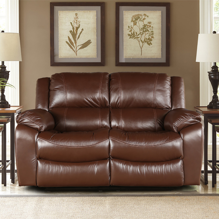 Bristol Half Leather Two Seater Recliner in Brown Colour by HomeTown