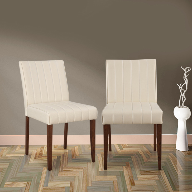 Hampstead Solid Wood Dining Chair Set of Two in Walnut & Beige Colour by HomeTown