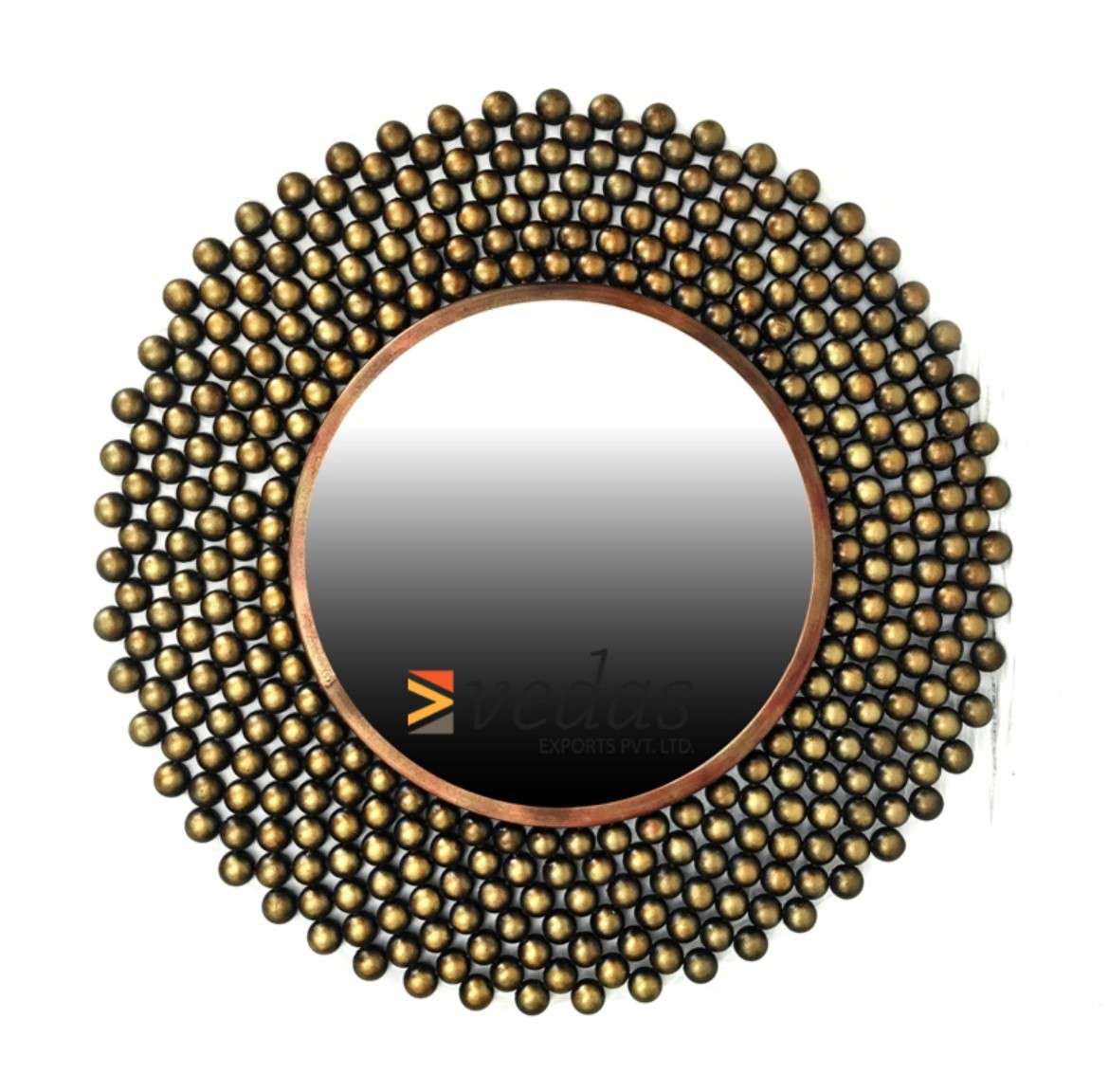W-PARUL MIRROR Iron Large Wall Accents in Mettalic Brown Colour by Royce