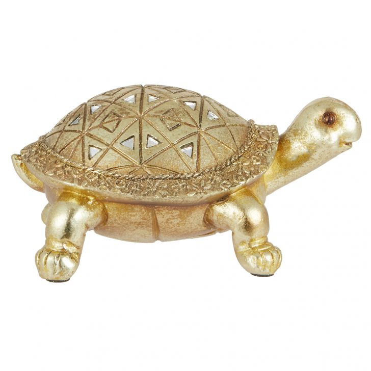 Miraya Tortoise Figurine Polyresin Table D in Silver Colour by Living Essence