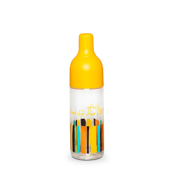 Drinking Bottle 450 ml Mustard Hard Plastic Glass Bottles in Multicolor Colour by Living Essence