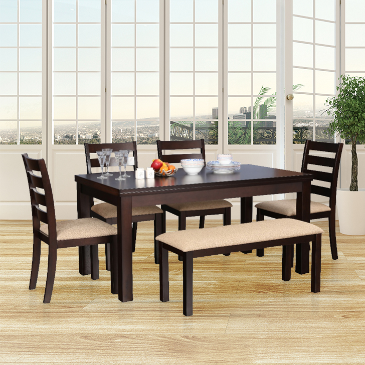 Bahubali Rubber Wood Six Seater Dining Set in Walnut Colour by HomeTown