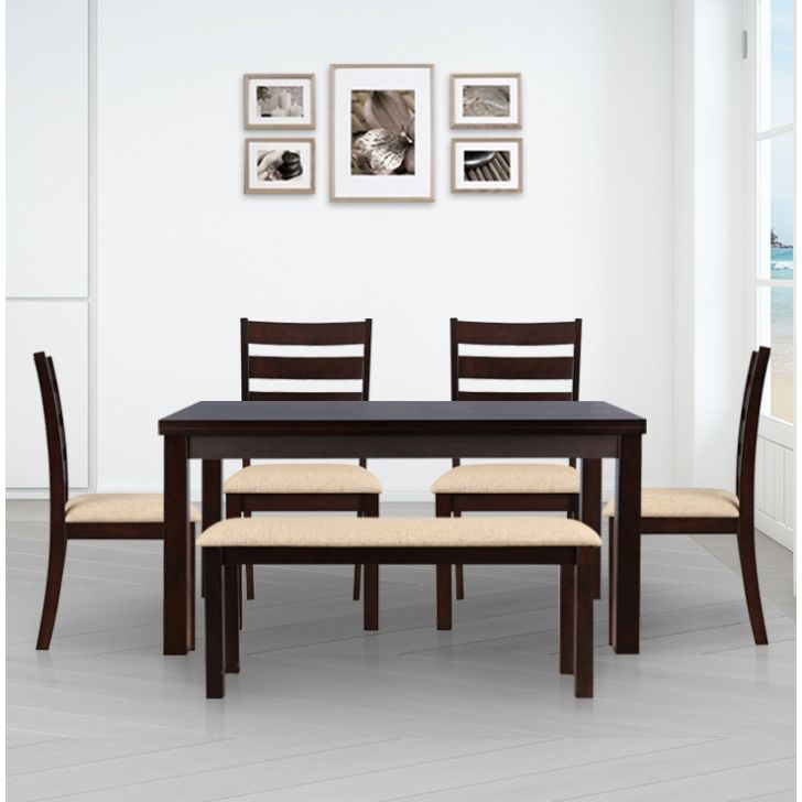 Bahubali Solidwood 6 Seater Dining Set with Bench in Walnut Colour