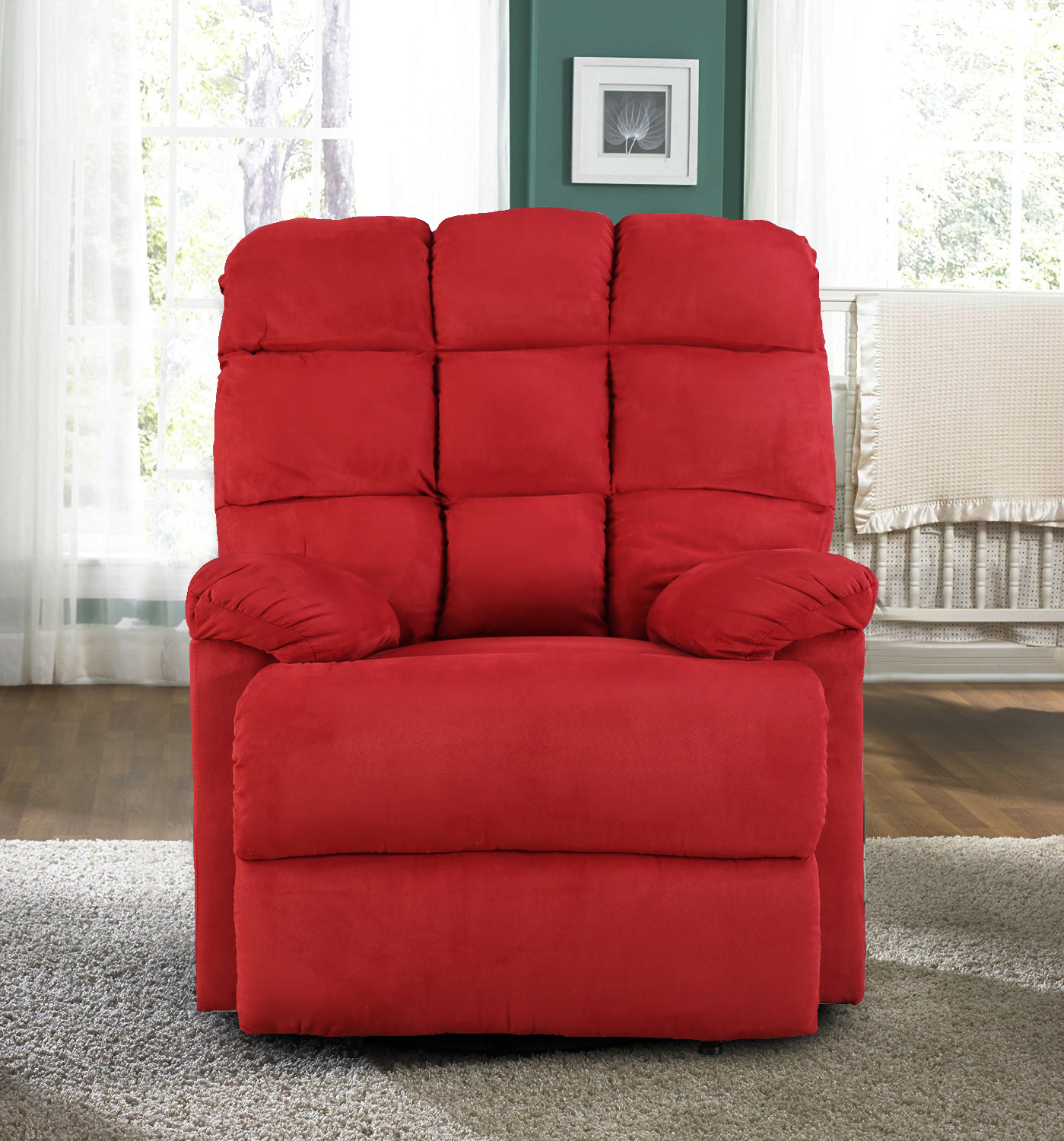 Graham Fabric Single Seater Recliner in Red Colour by HomeTown