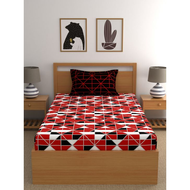 Epic Polycotton Single Bedsheet 147 x 220cms in Red Colour
