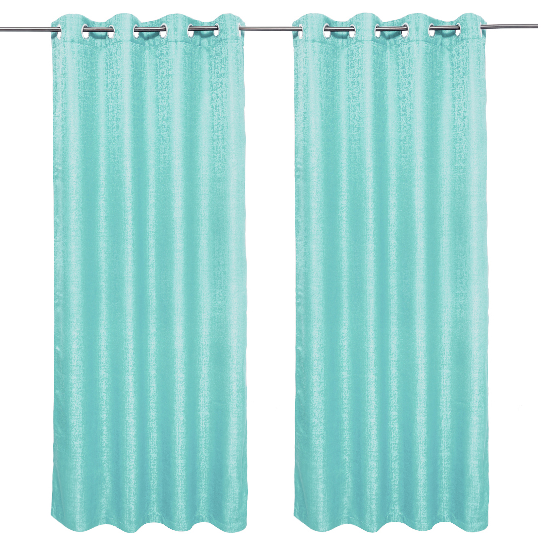 Nora Solid set of 2 Polyester Door Curtains in Turquoise Colour by Living Essence