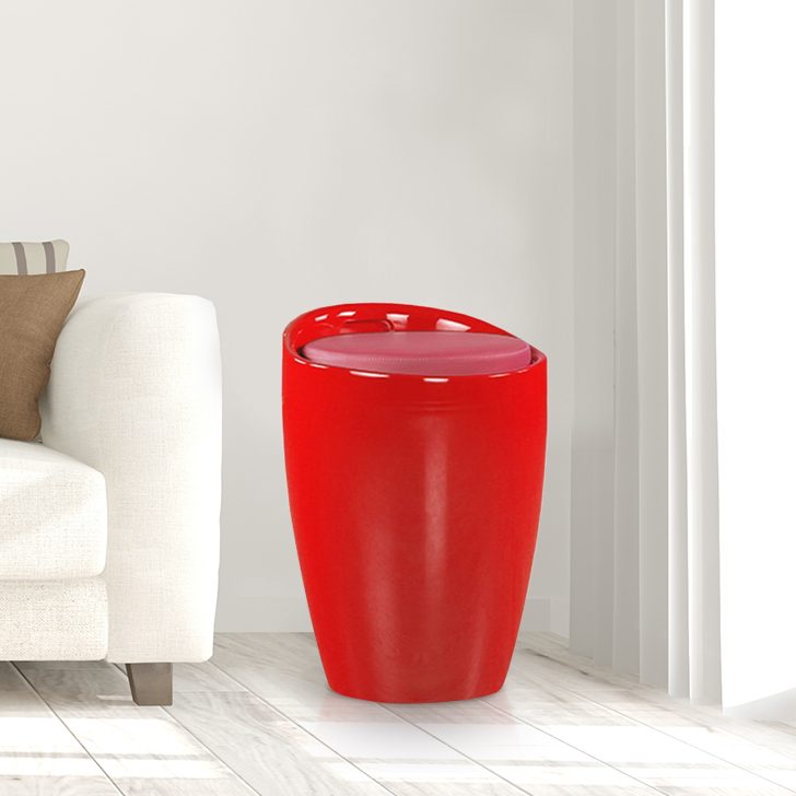 Luna ABS Ottomans and Pouf in Crimson Colour by HomeTown