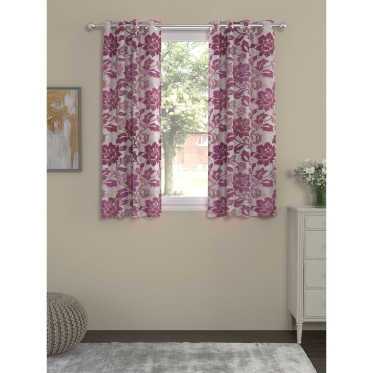 Rosara Home Polyester Curtain in Purple Colour
