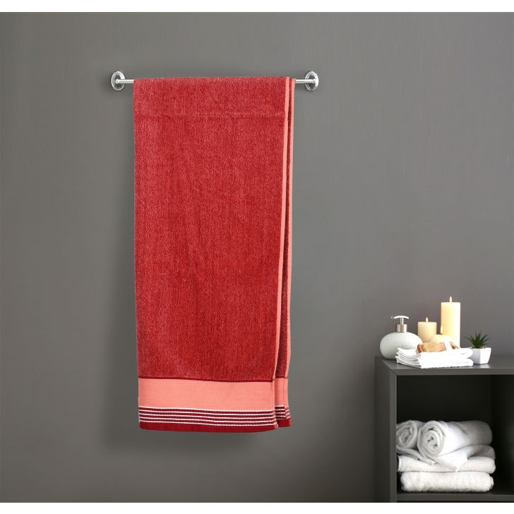 Yard Dyed Solid Grindle Cotton Bath Towels in Red Colour by Dreamline