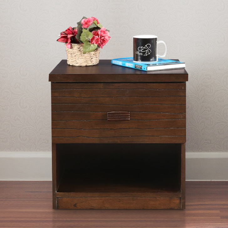 Stanford Solid Wood Bedside Table in Walnut Colour by HomeTown