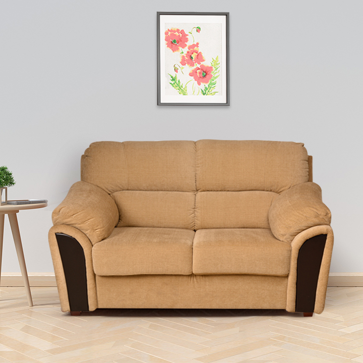 Ohio Fabric Two Seater Sofa in Beige Colour by HomeTown