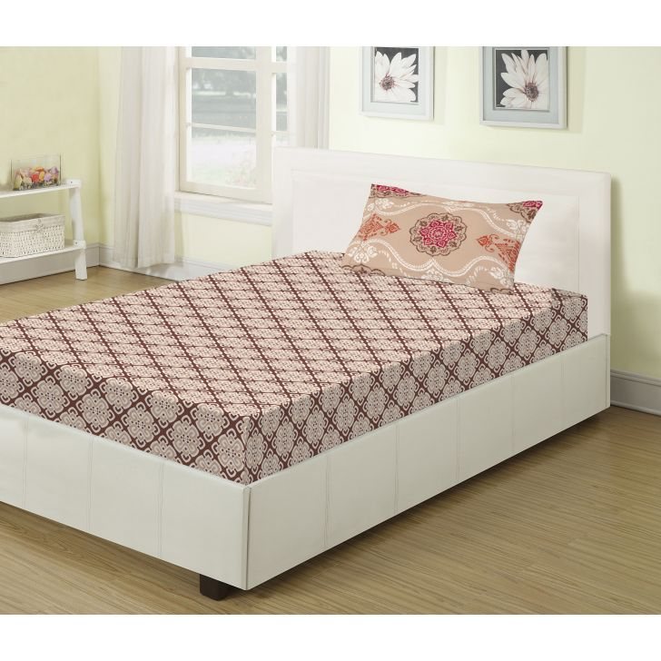 Emilia Cotton Single Bed Sheets in Brown Colour by Living Essence
