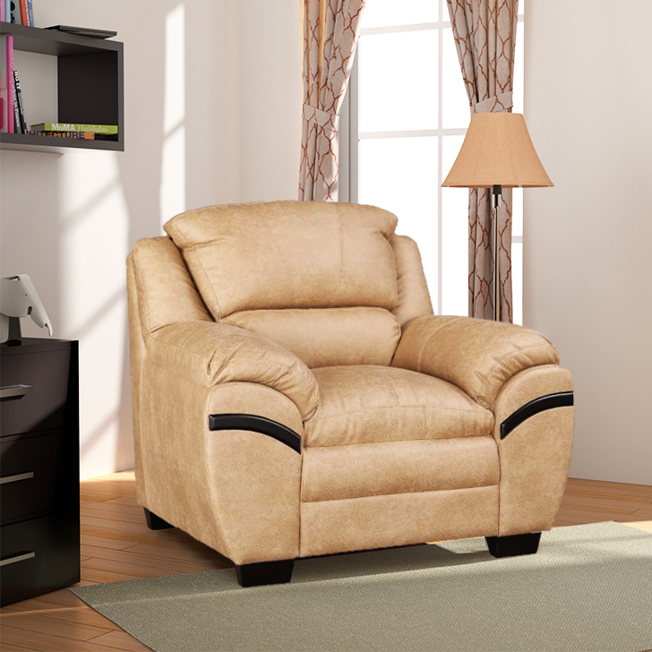 Eleanor Fabric Single Seater sofa in Beige Colour by HomeTown