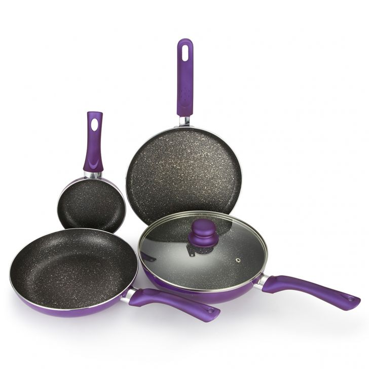 Bergner Ceramic Coated Aluminium Non-Stick Cookware Set 5 Pc in Purple Colour by Bergner