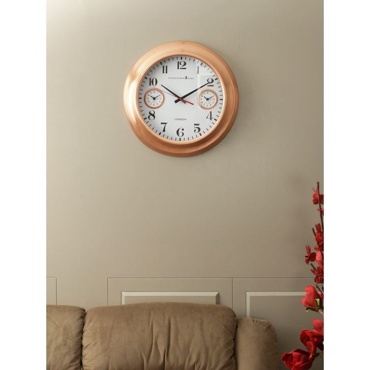 Urban Metal Wall Clock in Copper Colour by Living Essence