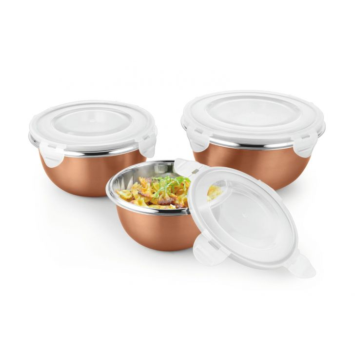 Bonita Preppy Stainless Steel Bowls Set Of 3 Stainless steel Containers in Copper Colour by Bonita