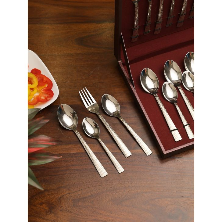 FNS Stainless Steel Spoon Box Set of 24 in Silver Colour by FNS