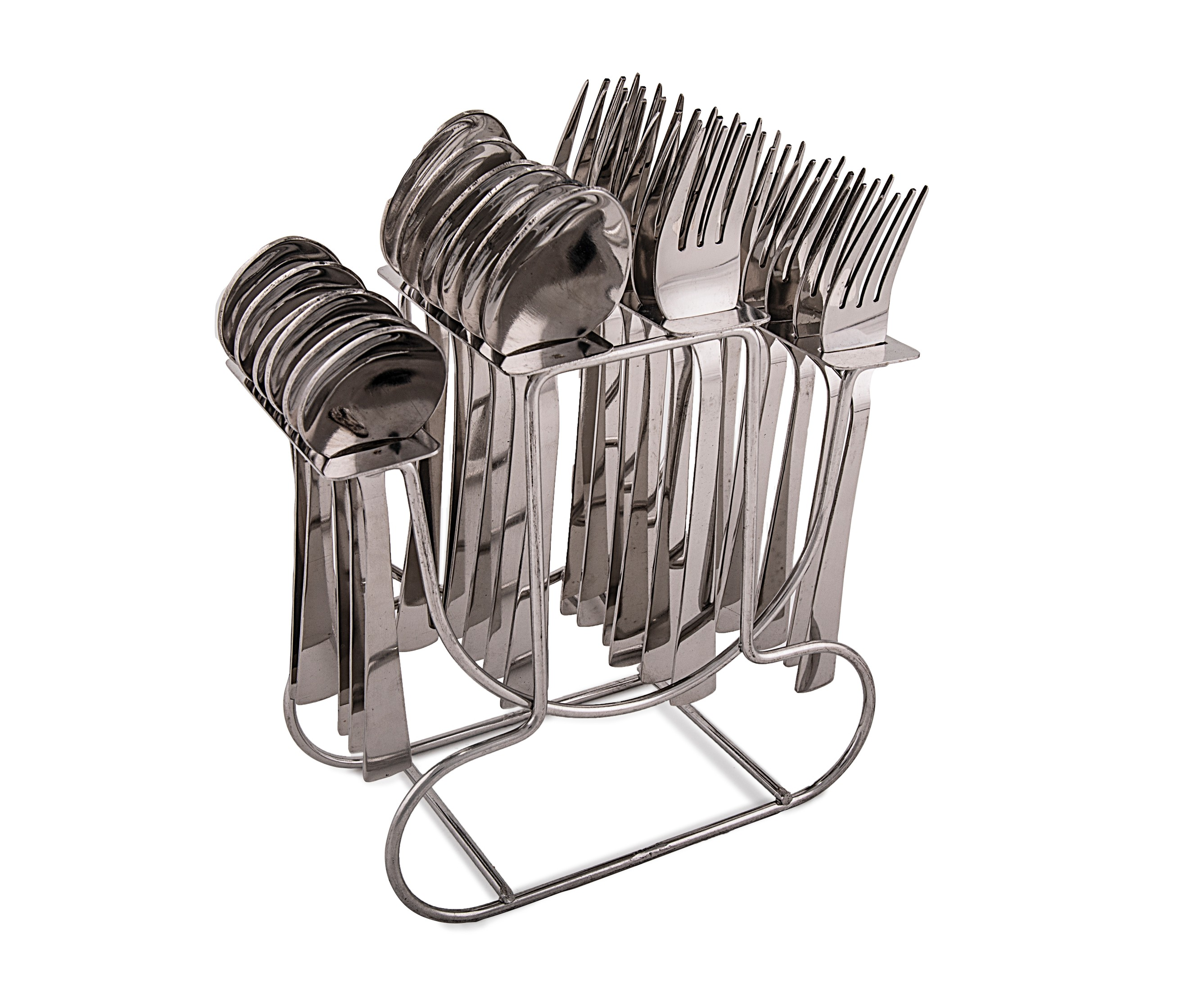 24 Pcs with stand Stainless steel Cutlery Sets in Silver Colour by Living Essence