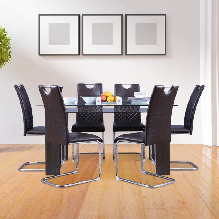 Garfield Engineered Wood Glass Top Six Seater Dining Set in Brown Colour by HomeTown