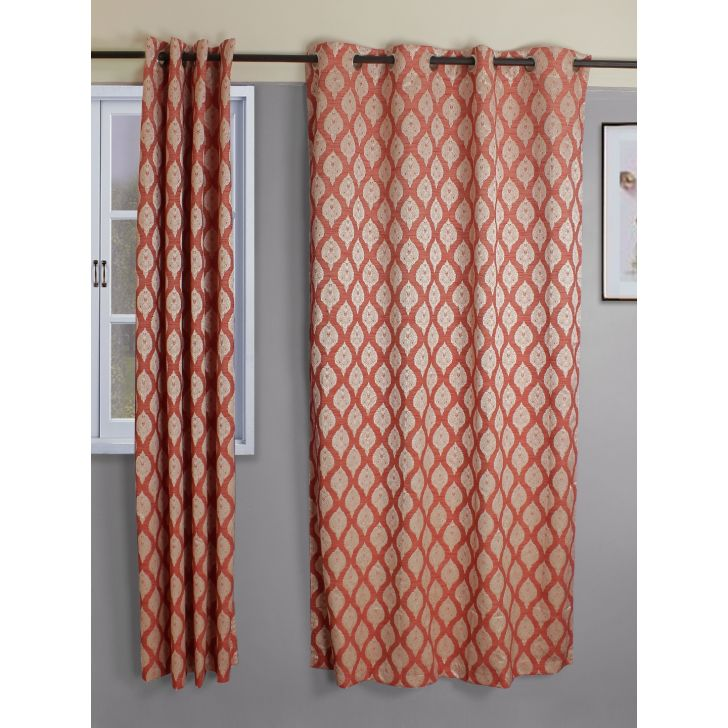 Setof 2 Amour Jacquard Polycotton Door Curtains in Rust Colour by Living Essence