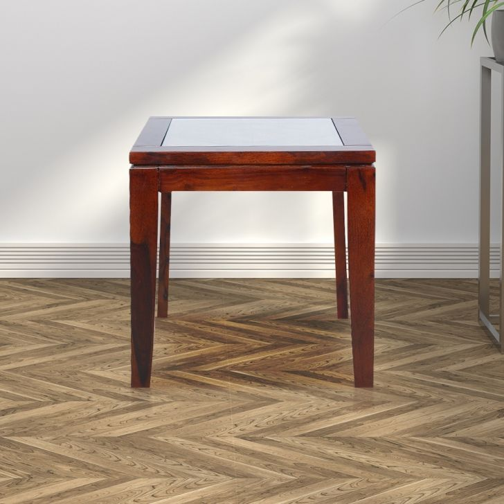 Quark Solid Wood End Table in Walnut Colour