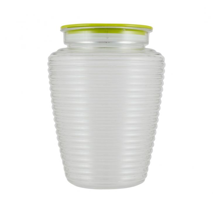 Airtight Cannister 1500ml Plastic Containers in Transparent With Green Lid Colour by Living Essence