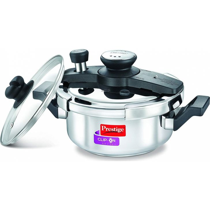 Clip On 2 Ltr with Induction Bottom Stainless steel Pressure Cooker in Silver Colour by Prestige