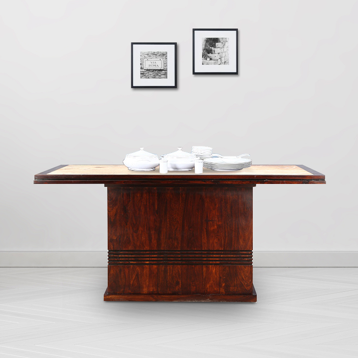 Cleo Solid Wood Six Seater Dining Table in Nut Brown Colour by HomeTown