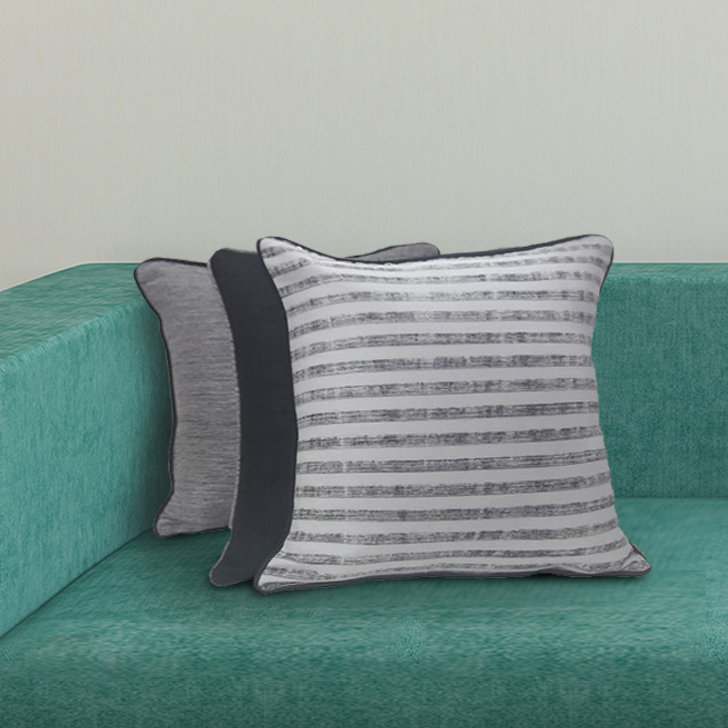 Set Of 3 Cc 16X16 Fiesta Black Polyester Cushion Cover Sets in Black Colour by Living Essence